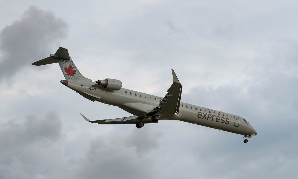 Air Canada Express operated by Jazz C GJZT Bombardier CRJ900LR on final approach at Ottawa Macdonald–Cartier International Airport