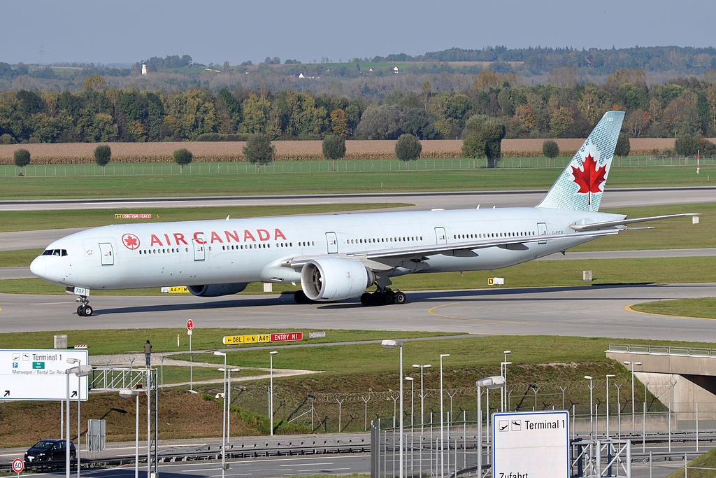 Air Canada Fleet C FITU Boeing 777 300ER at Munich Airport Germany