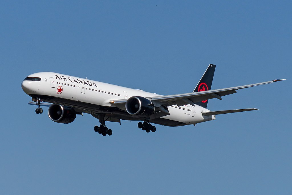 Air Canada Fleet C FITU Boeing 777 300ER on final approach at Beijing Capital International Airport