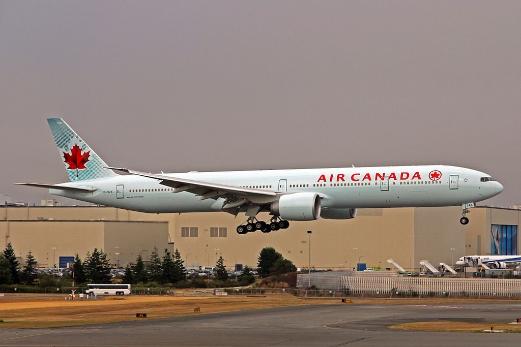 Air Canada Fleet C FIVX Boeing 777 300ER Returning to Everett PAE from Portland PDX after painting