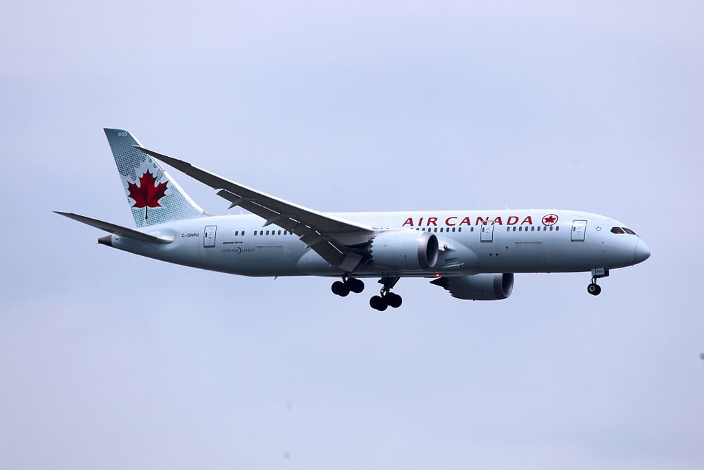 Air Canada Fleet C GHPU Boeing 787 8 Dreamliner on final approach at Shanghai Pudong International Airport PVG