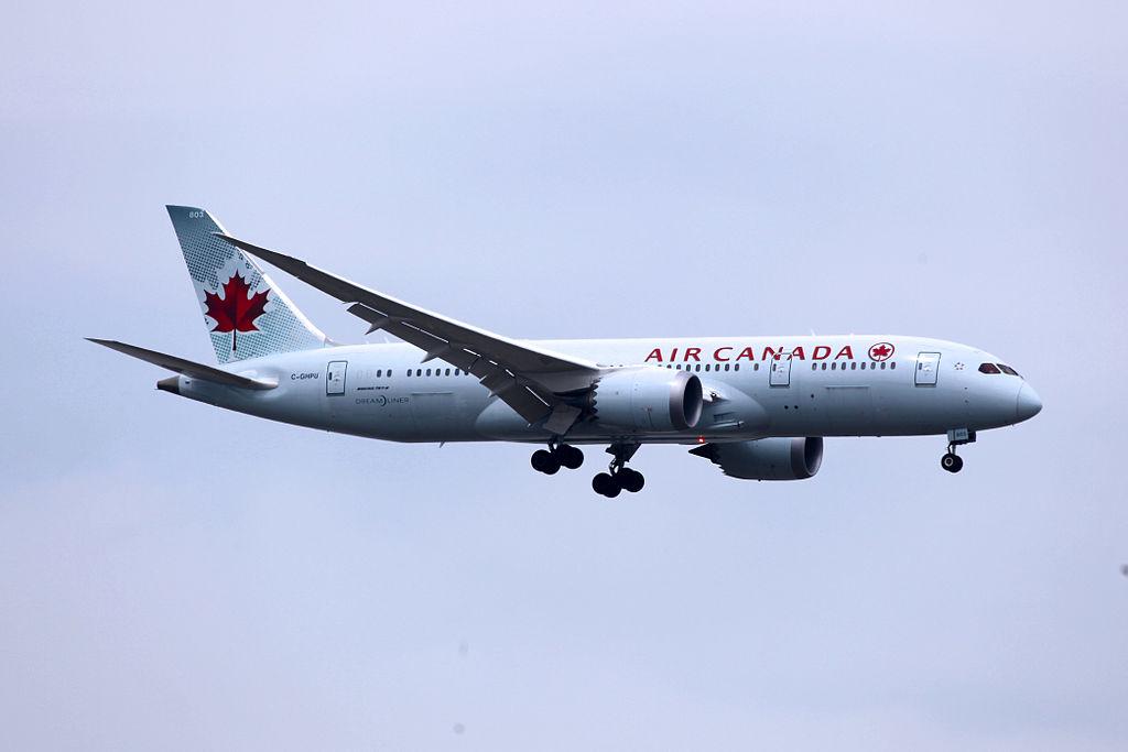 Air Canada Fleet C GHPU Boeing 787 8 Dreamliner on final approach at Shanghai Pudong International Airport PVG