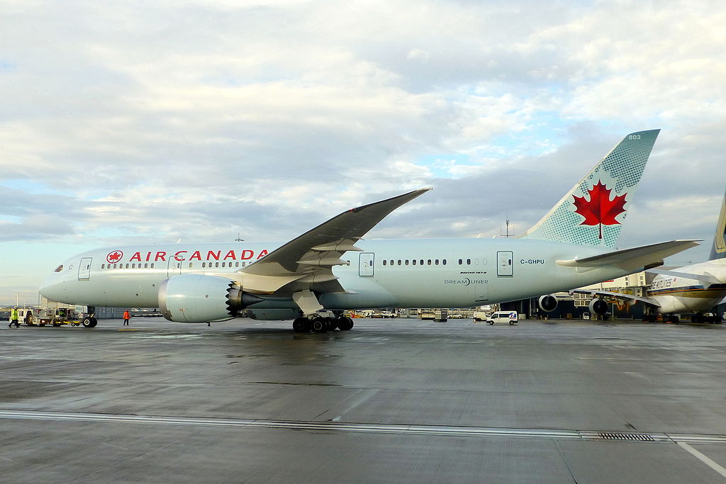 Air Canada Fleet C GHPU Boeing 787 8 Dreamliner pushing back off std 241 at London Heathrow Airport