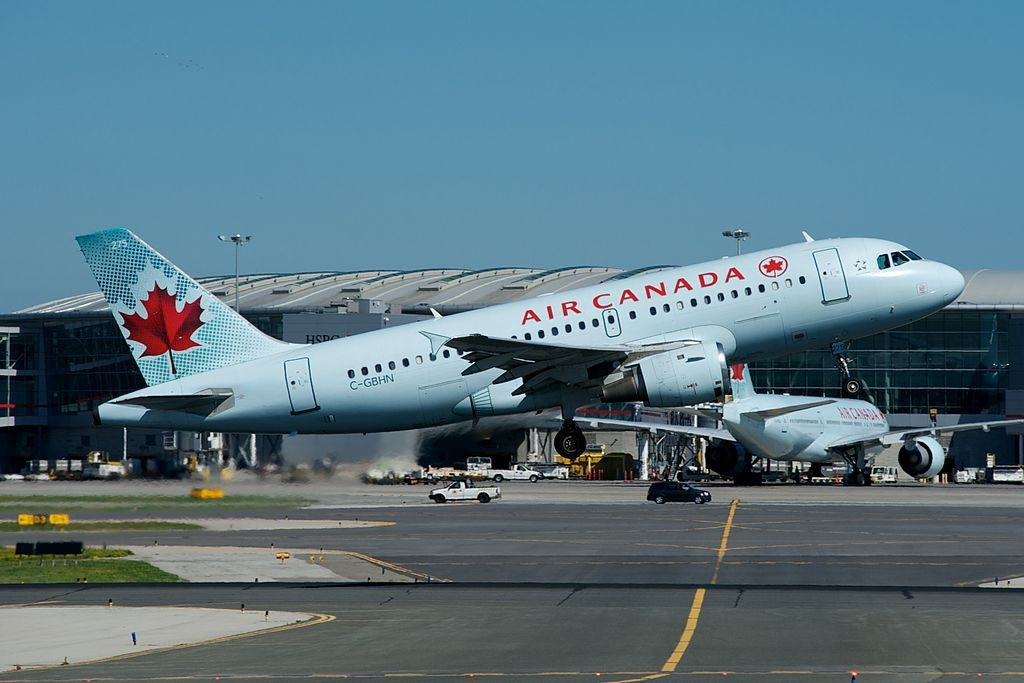 Air Canada Jetz C GBHN Airbus A319 114 cnserial number 773 departing Toronto Pearson on Runway 6L