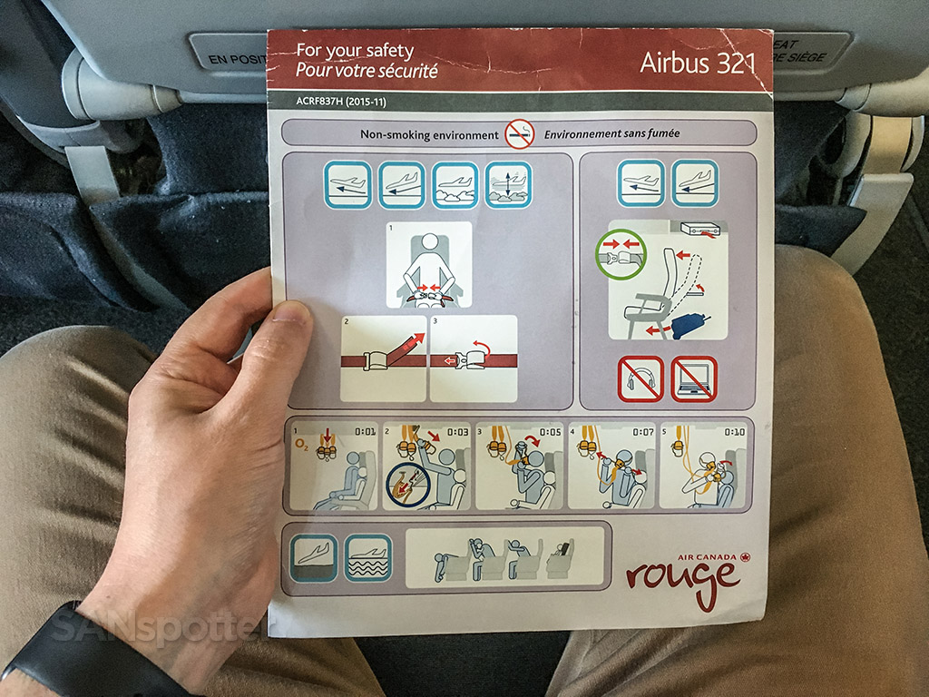 Air Canada Rouge Airbus A321 200 Safety Card @SANspotter