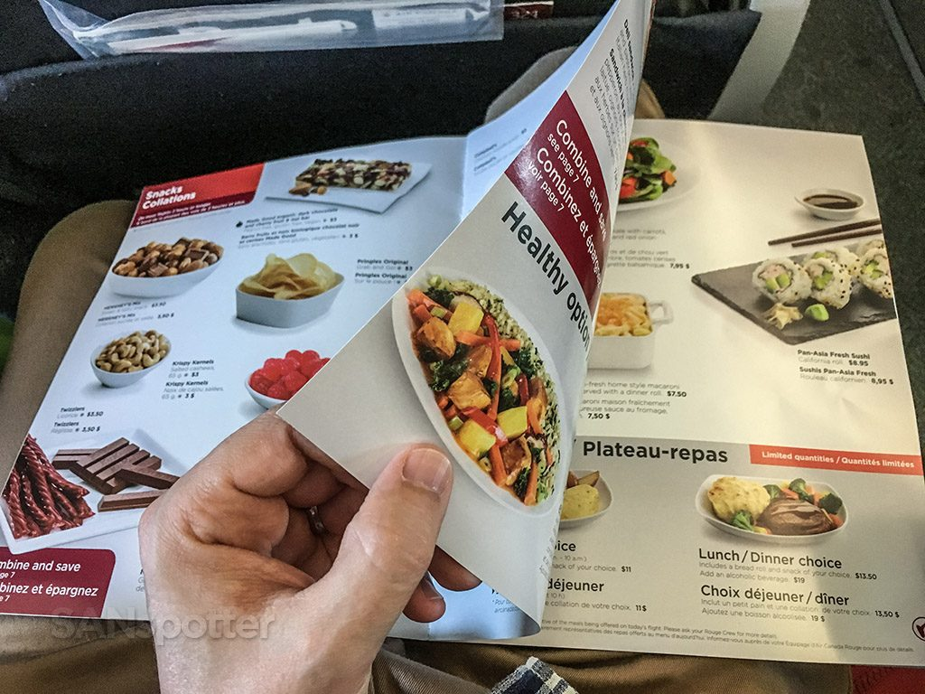 Air Canada Rouge Airbus A321 200 economy class cabin onboard meal food appetizer main course dessert sevices menu @SANspotter