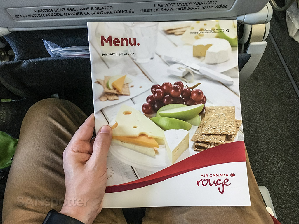 Air Canada Rouge Airbus A321 200 economy class cabin onboard meal food sevices menu @SANspotter