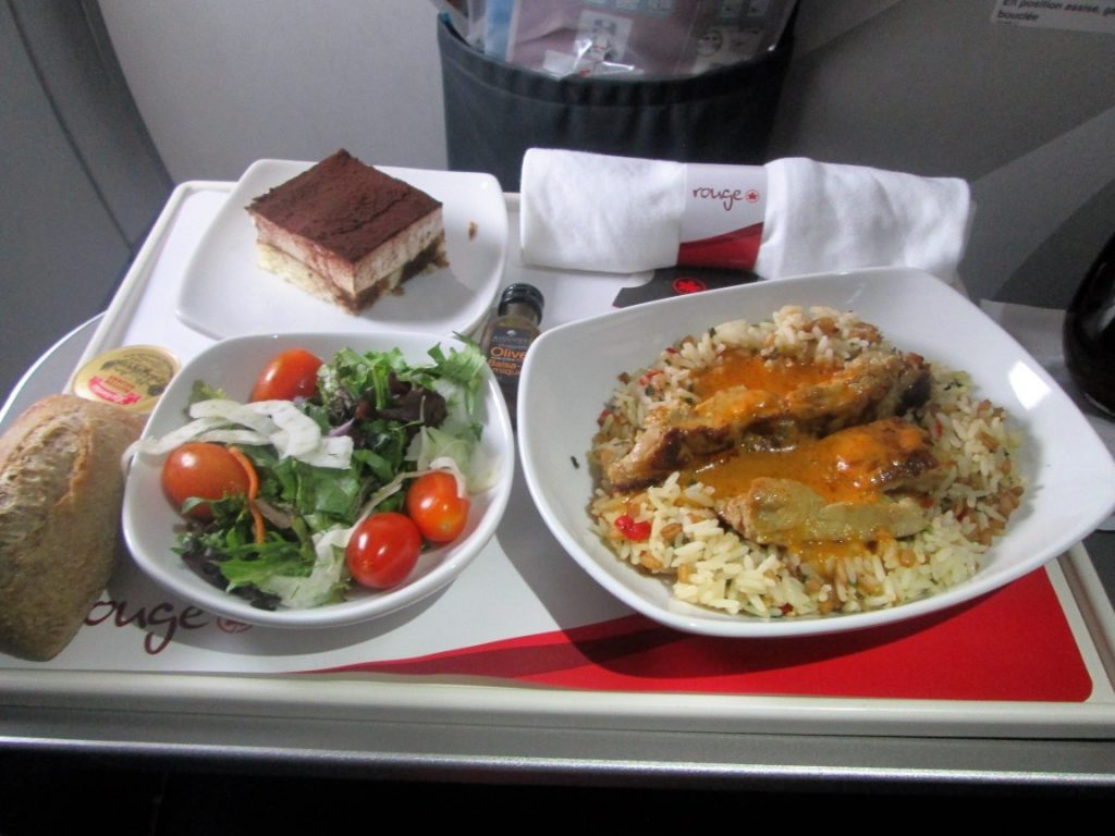 Air Canada Rouge Airbus A321 200 premium economy rouge cabin inflight meal food appetizer main course dessert menu
