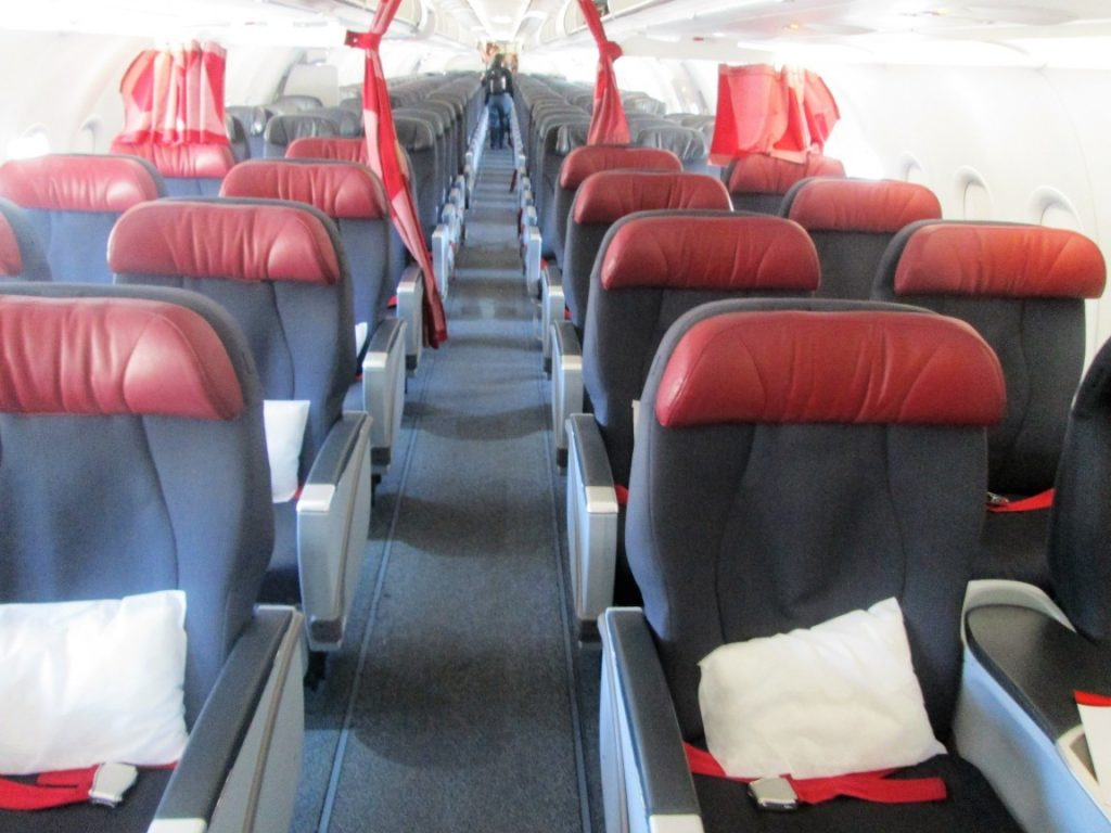 Air Canada Rouge Airbus A321 200 premium economy rouge cabin interior with 2 2 seats layout