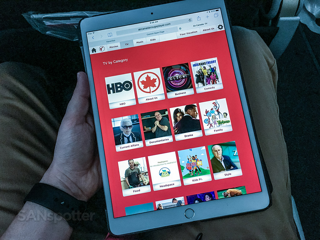 Air Canada Rouge Airbus A321 200 selection of TV and movie of the inflight streaming entertainment @SANspotter