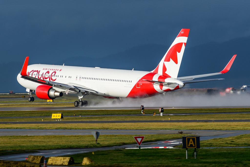 Air Canada Rouge B767 333ERWL C GHLV hard landing at CYVR