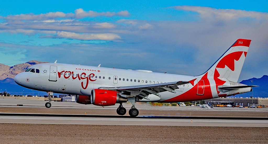 Air Canada Rouge C FYIY Airbus A319 114 cnserial number 634 landing at Las Vegas McCarran International Airport LAS KLAS