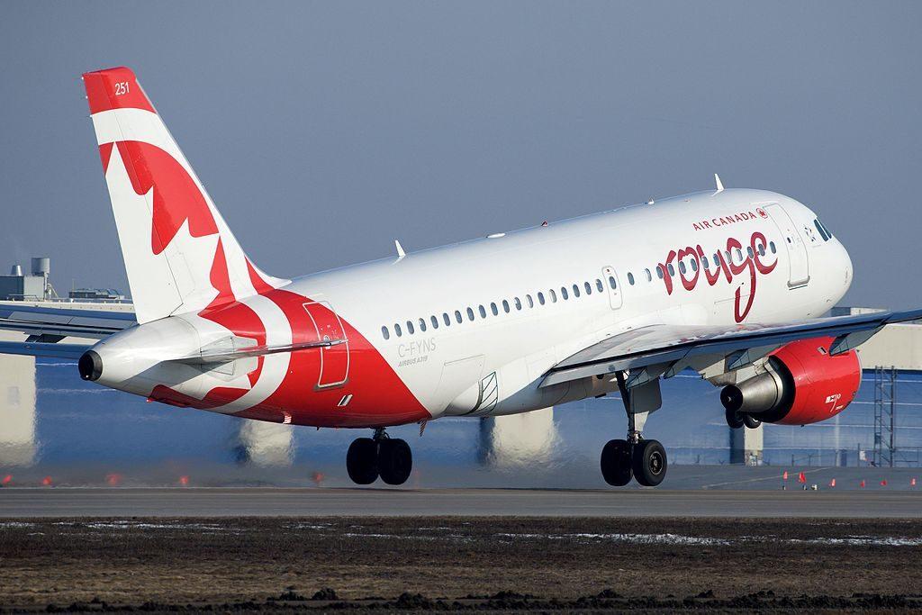 Air Canada Rouge C FYNS Airbus A319 114 cnserial number 572 departure Montréal–Pierre Elliott Trudeau International Airport