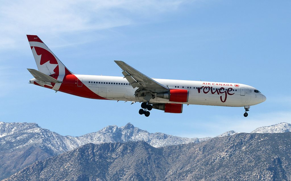 Air Canada Rouge C GEOQ Boeing 767 300ER arrival from Toronto at Palm Springs