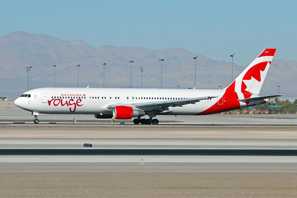 Air Canada Rouge C GHPE Boeing 767 300ER at McCarran International Airport