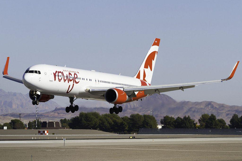 Air Canada Rouge aircraft C GHLU Boeing 767 300ER landing 25L in KLAS from CYYZ