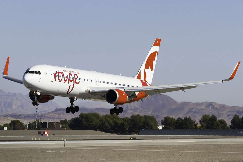 Air Canada Rouge aircraft C GHLU Boeing 767 300ER landing 25L in KLAS from CYYZ
