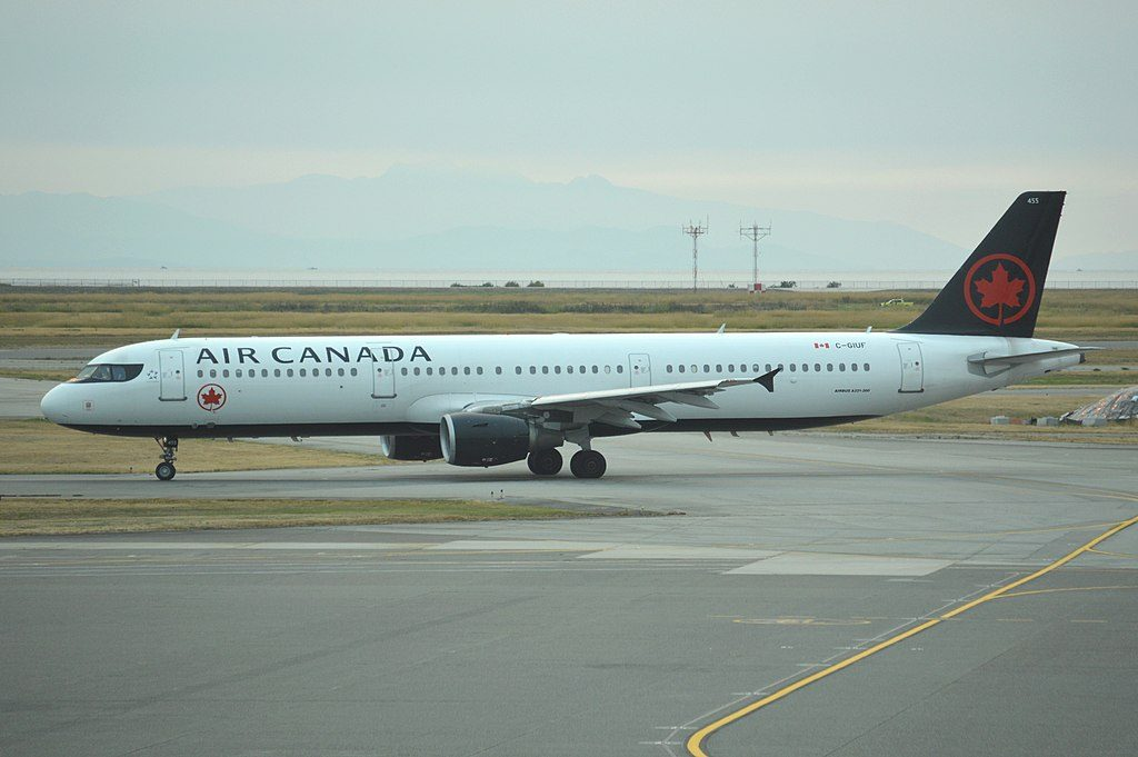 Air Canada narrowbody aircraft Airbus A321 200 C GIUF as viewed from Vancouver International Airport