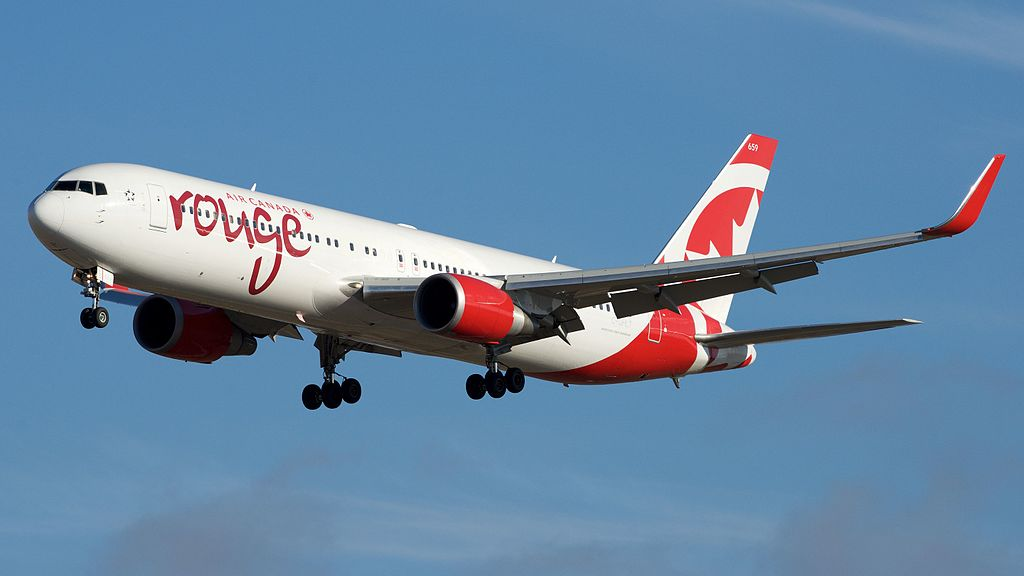 Air Canada rouge Boeing 767 300ER C GHLT approaching Toronto Pearson International Airport