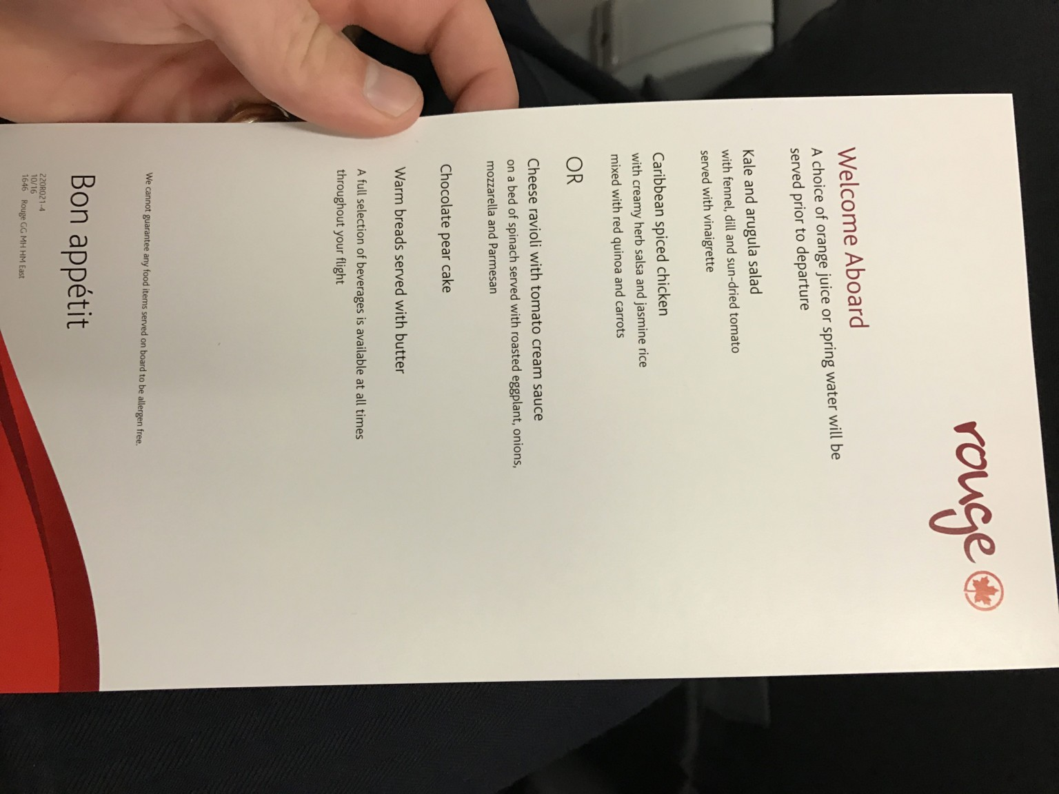 Airbus A319 100 Air Canada Rouge Premium Seats Inflight Amenities Food Meal Services Menu