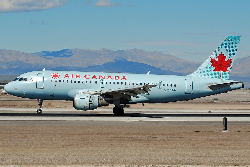 Airbus A319 114 cnserial number 693 Air Canada Fleet C FYKR landing at KLAS Airport