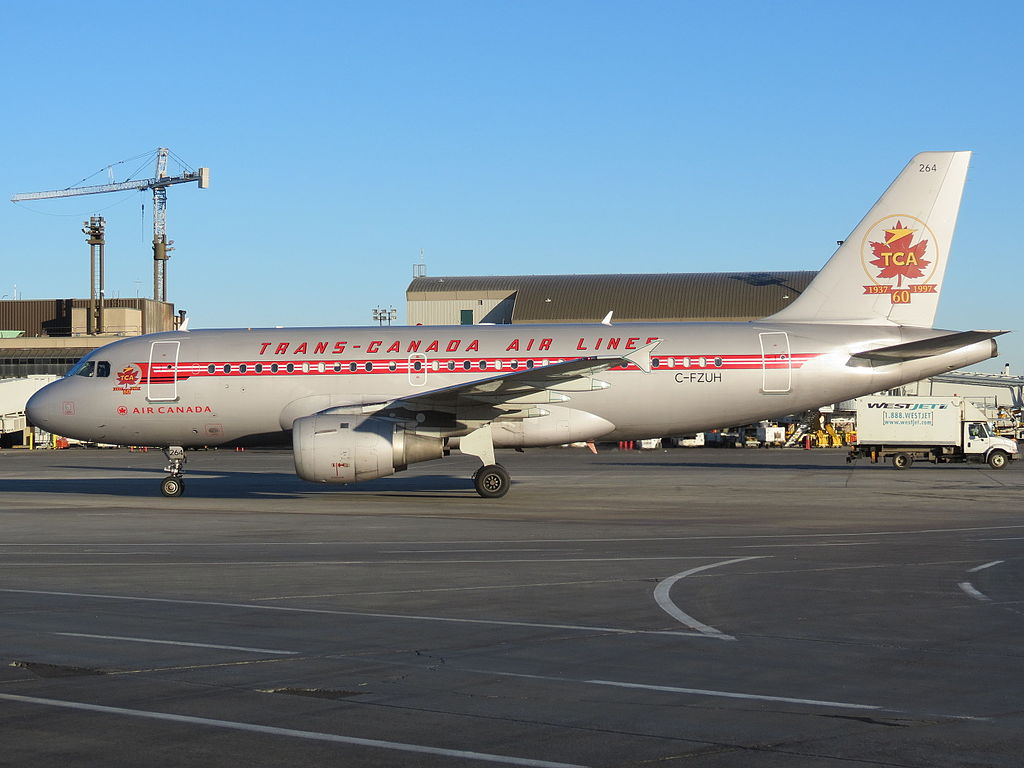 Airbus A319 114 cnserial number 711 Air Canada C FZUH Trans Canada Air Lines retro livery colors at Calgary International Airport