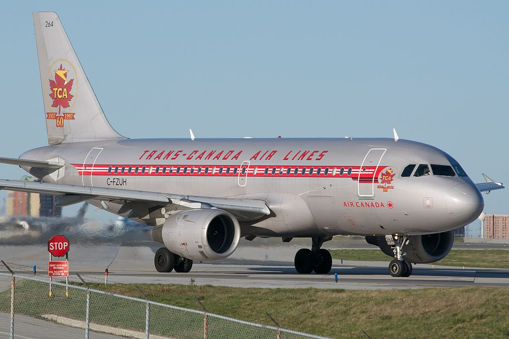 Airbus A319 114 cnserial number 711 Air Canada C FZUH Trans Canada Air Lines retro livery colors at Toronto Pearson International Airport