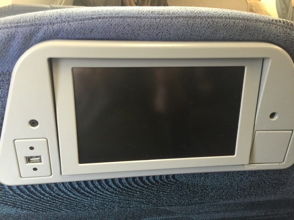 Airbus A320 200 Air Canada aircraft business class cabin backseats IFE screen with usb power port