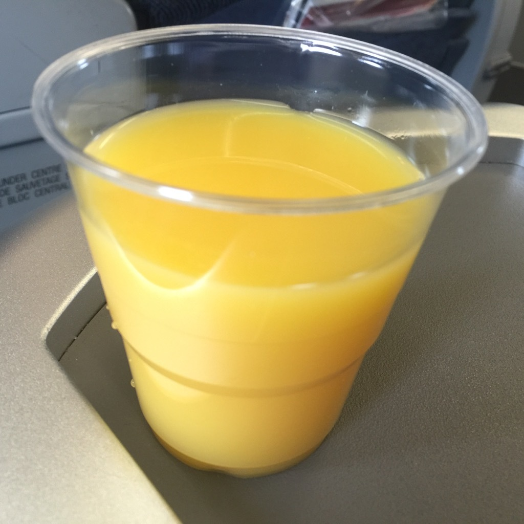 Airbus A320 200 Air Canada aircraft business class cabin inflight amenities drinks services orange juice