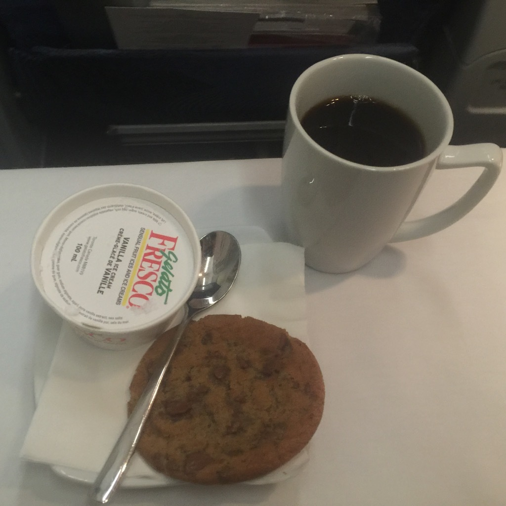 Airbus A320 200 Air Canada aircraft business class cabin inflight meal food dessert menu photos
