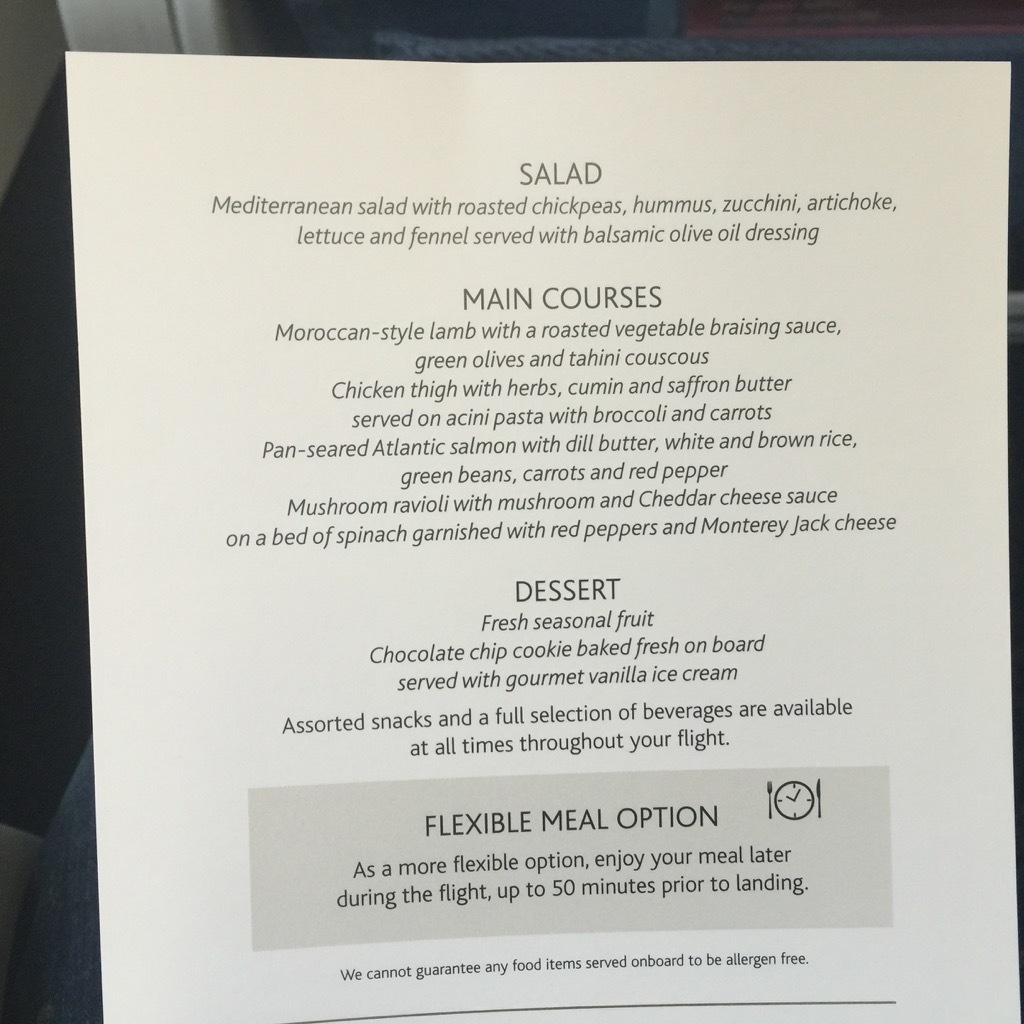 Airbus A320 200 Air Canada aircraft business class cabin inflight meal food menu services