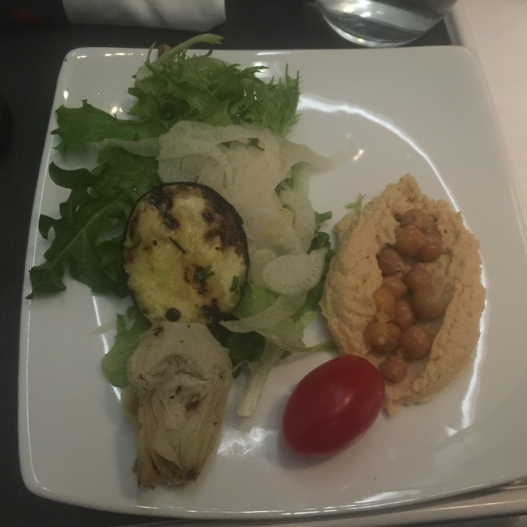 Airbus A320 200 Air Canada aircraft business class cabin inflight meal food salad photos
