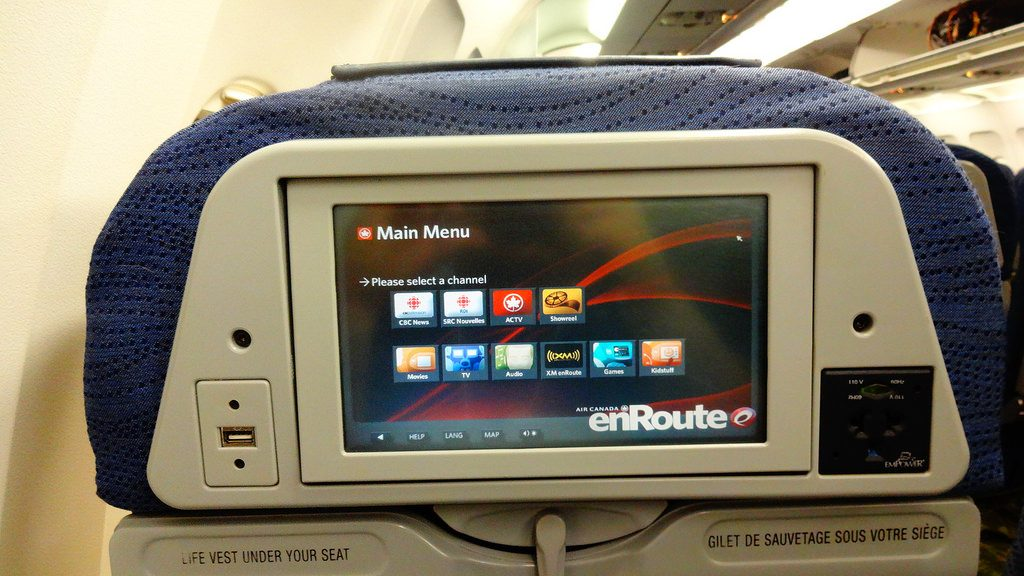 Airbus A320 200 Air Canada aircraft economy class cabin backseats entertainment IFE system screen with usb power