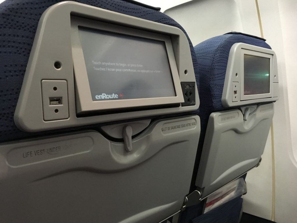 Airbus A320 200 Air Canada aircraft economy class cabin inflight entertainment system IFY screen