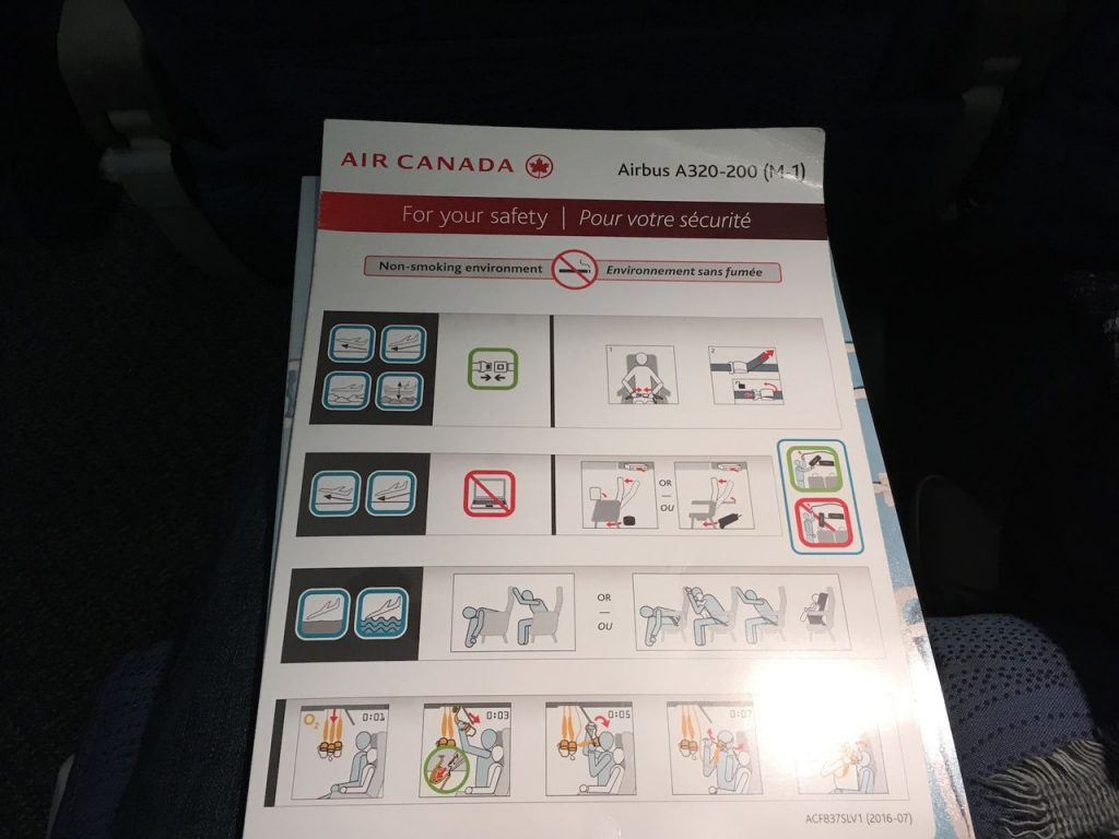 Airbus A320 200 Air Canada aircraft economy class cabin safety card