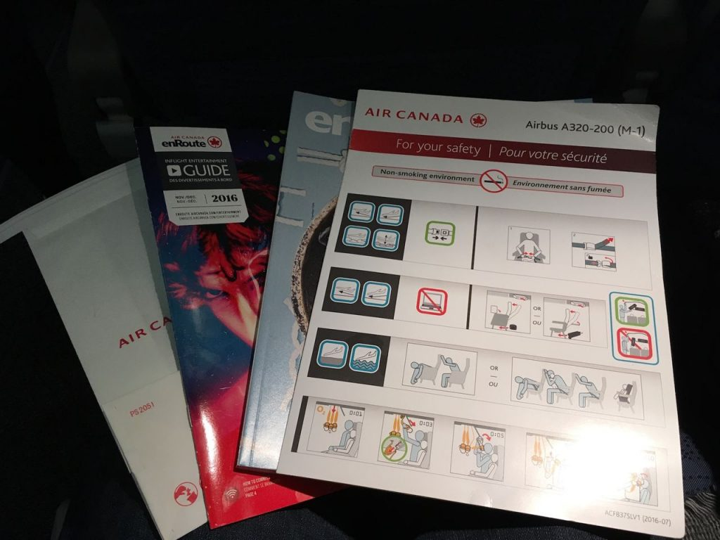 Airbus A320 200 Air Canada aircraft economy class cabin seatback content