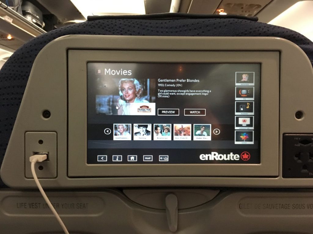 Airbus A320 200 Air Canada aircraft economy class movies selection on IFE system
