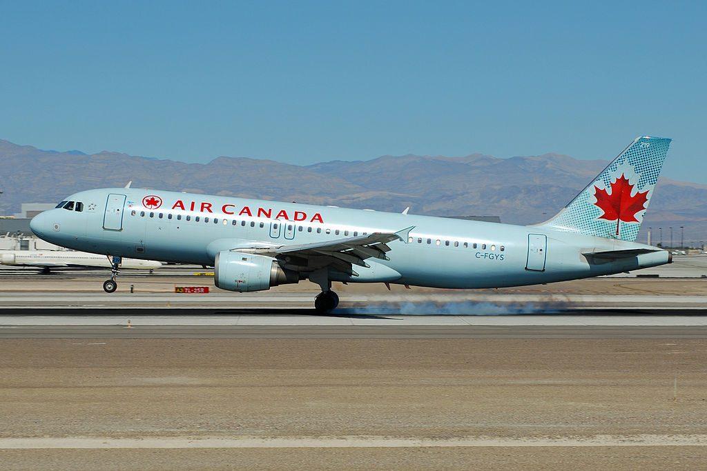 Airbus A320 200 of Air Canada C FGYS landing at McCarran International Airport