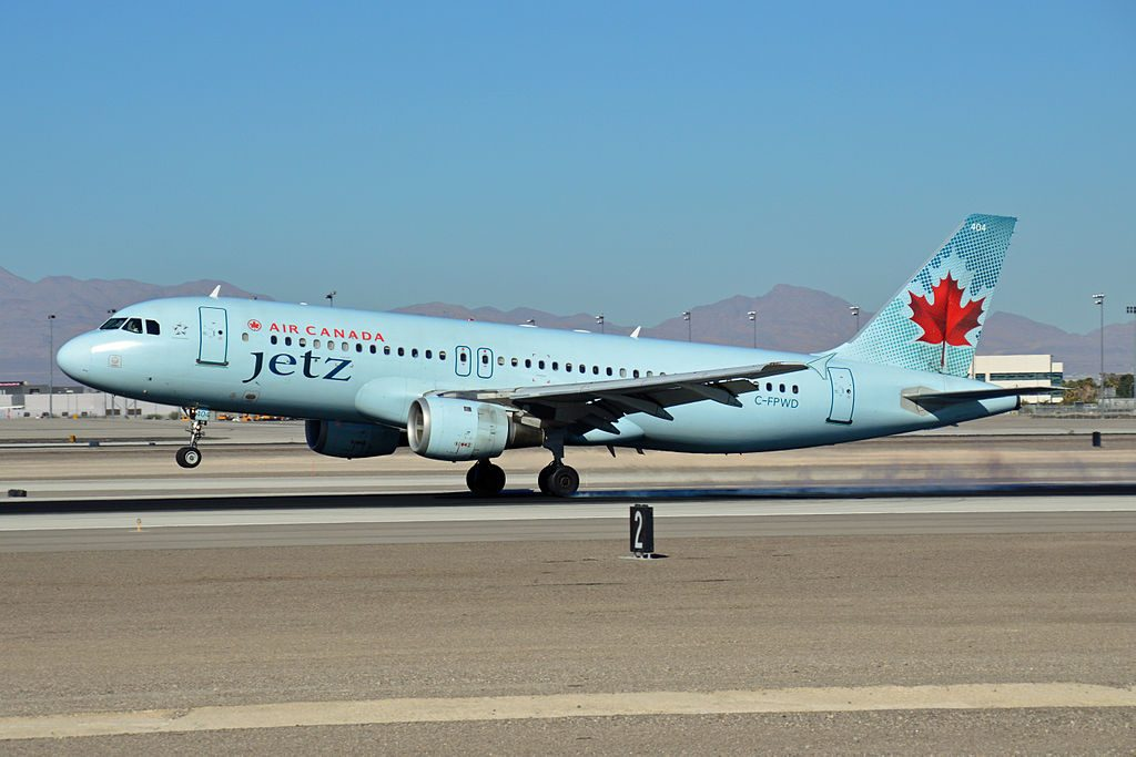 Airbus A320 200 of Air Canada Jetz C FPWD at McCarran International Airport