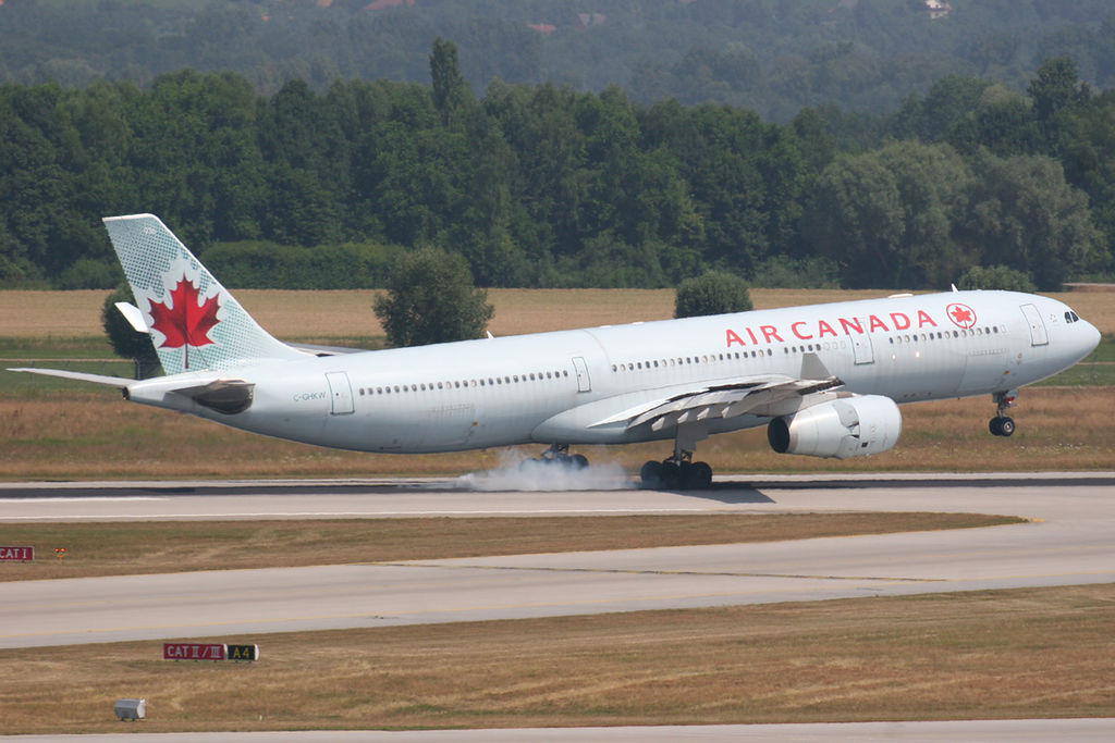 Airbus A330 343X Air Canada C GHKW landing at Munich EDDMMUC Airport