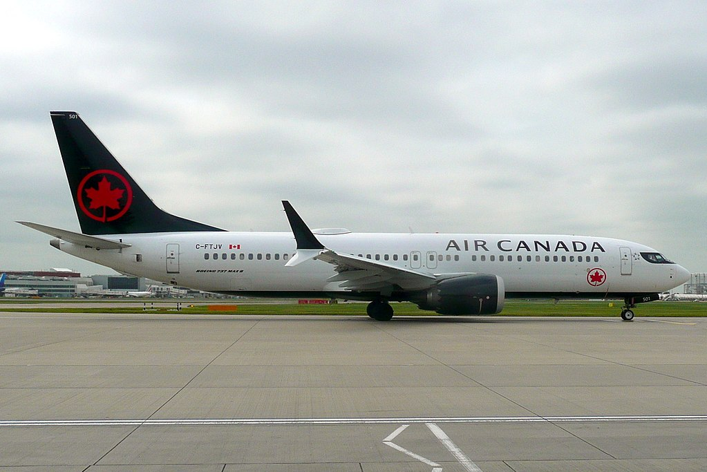 Boeing 737 8 MAX of Air Canada C FTJV at London Heathrow Airport