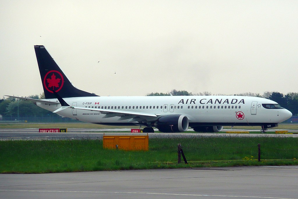 Boeing 737 MAX 8 Air Canada C FSIP taxiing at London Heathrow Airport