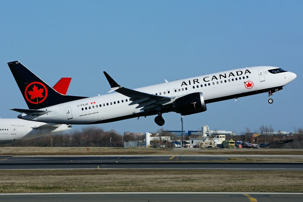 Boeing 737 MAX 8 Air Canada C FSJH takeoff at Toronto Lester B. Pearson Airport YYZ