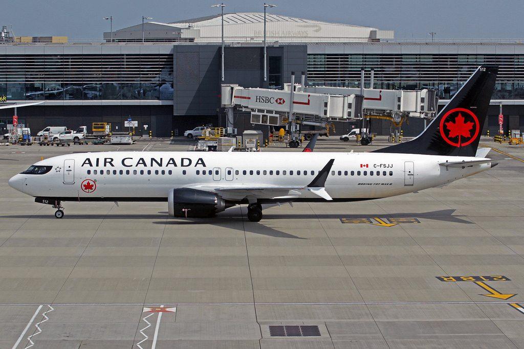 Boeing 737 MAX 8 Air Canada C FSJJ narrowbody aircraft at LHR