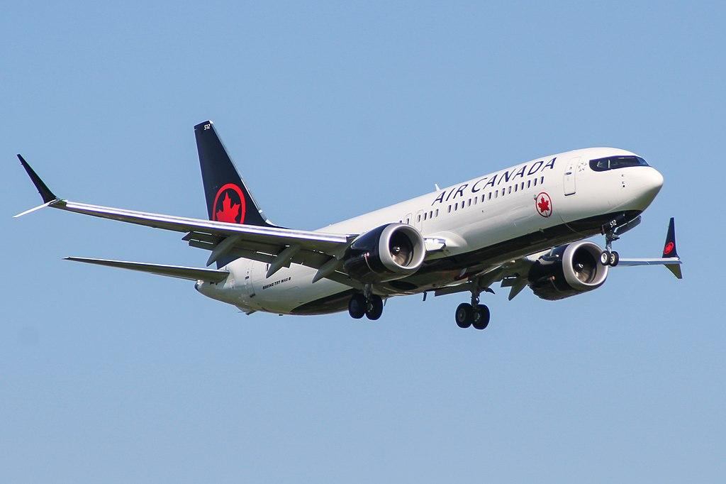 Boeing 737 MAX 8 Air Canada C FSJJ on final approach at London Heathrow Airport