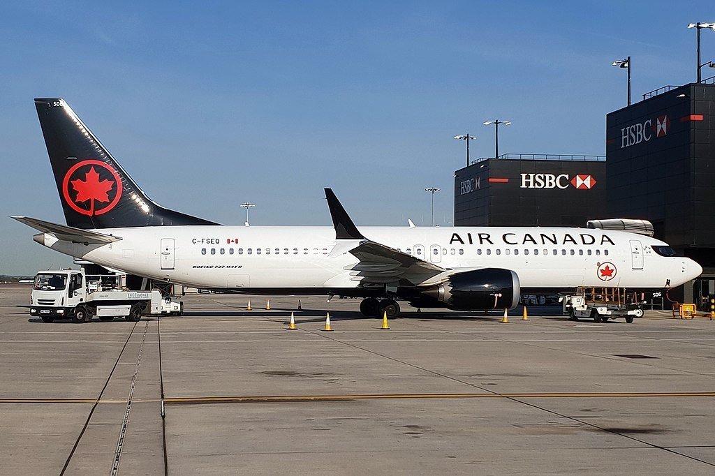 Boeing 737 MAX 8 of Air Canada C FSEQ at London Heathrow Airport