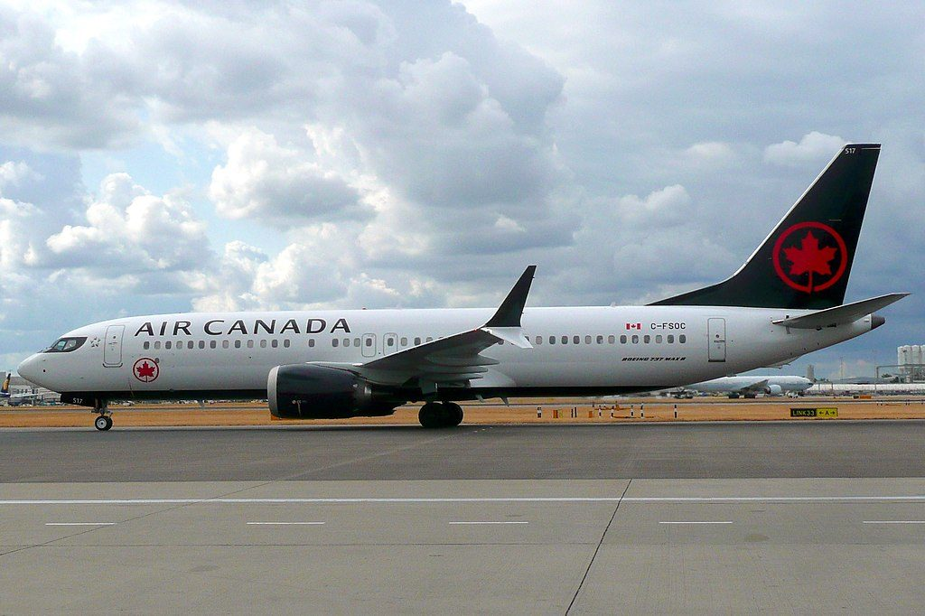 Boeing 737 MAX 8 of Air Canada C FSOC at London Heathrow Airport