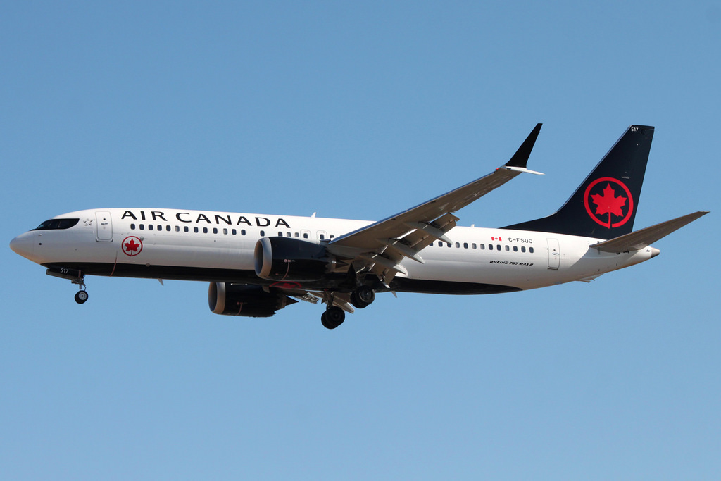 Boeing 737 MAX 8 of Air Canada C FSOC on short final before landing at London Heathrow Airport