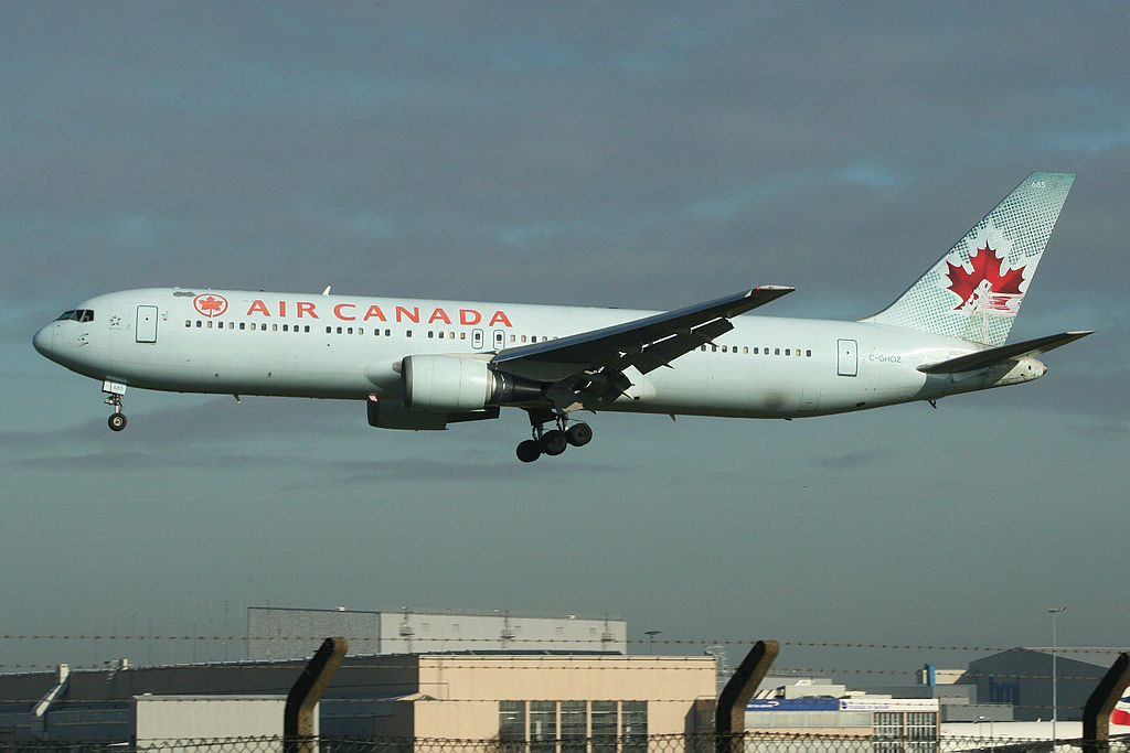 Boeing 767 300ER of Air Canada C GHOZ Arriving at London Heathrow
