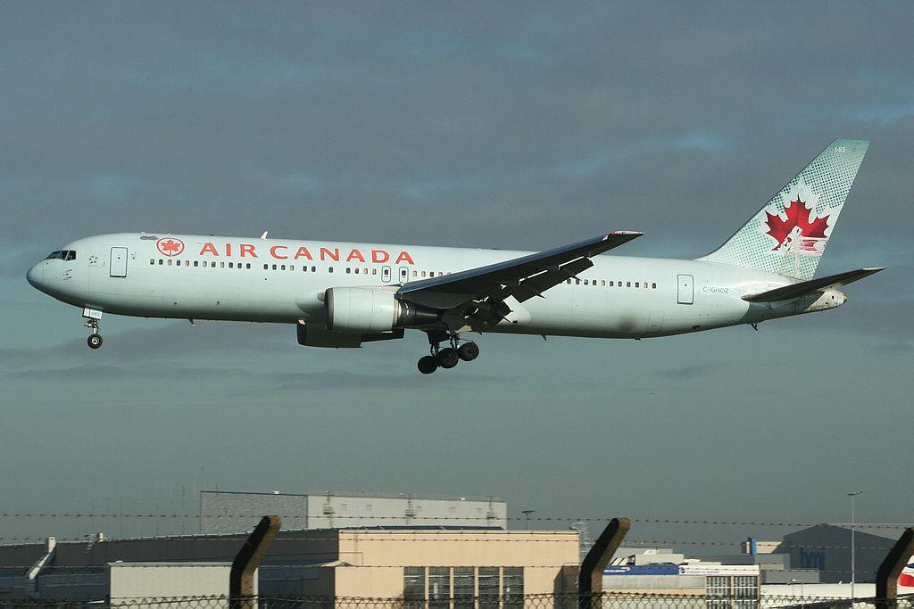 Boeing 767 300ER of Air Canada C GHOZ Arriving at London Heathrow
